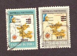 Inde Portugaise  - 1959 Map Of District Damao Stamps Of 1957 Surcharged - Inde Portugaise