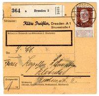 Paketkarte Mit EF 50 Pfg. Hindenburg Vom Unterrand - Deutschland