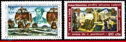 Ref. BR-1080-81 BRAZIL 1968 FAMOUS PEOPLE, PEDRO ALVARES CABRAL,, PAINTING, SHIPS, MI# 1171 1175; MNH 2V Sc# 1080-1081 - Unused Stamps