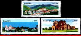 Ref. BR-1979-81 BRAZIL 1985 ARCHITECTURE, HERITAGE OF HUMANITY,, CHURCHES, SET MNH 3V Sc# 1979-1981 - Brésil