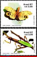 Ref. BR-2107-08 BRAZIL 1987 INSECTS, ENTOMOLOGICAL SOCIETY,, MANTIS, FLYING SNAKE, SET MNH 2V Sc# 2107-2108 - Brésil