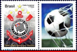 Ref. BR-3145-2 BRAZIL 2010 FOOTBALL-SOCCER, CORINTHIANS,, FAMOUS CLUBS, PERSONALIZED MNH 1V Sc# 3145 - Brésil
