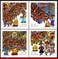 Ref. BR-3306 BRAZIL 2015 FOLKLORE, JUNE FESTIVALS, DANCE,, MUSIC, MUSICAL INSTRUMENTS, SET MNH 4V Sc# 3306 - Costumes