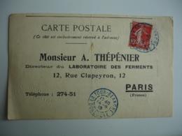 Obliteration Couleur Bleue La Tour Blanche 24  Sur Carte Reponse Laboratoire Thepenier - Marcophilie (Lettres)