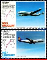 Ref. UR-1126-27 URUGUAY 1982 - PLANES, AVIATION, LUFTHANSA'S URUGUAY, GERMANY FLIGHT, 25TH ANNIV., MNH,2V Sc# 1126-1127 - Flugzeuge