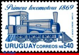 Ref. UR-1378A URUGUAY 1991 - FIRST LOCOMOTIVE 1869,, MNH, RAILWAYS, TRAINS 1V Sc# 1378A - Uruguay