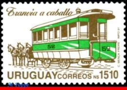 Ref. UR-1382 URUGUAY 1991 - RAILWAYS, TRAINS, HORSE-DRAWN STREETCAR,, MNH,1V Sc# 1382 - Trains