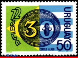 """Ref. UR-C391 URUGUAY 1972 - EXFILBRA - BRAZIL'S, """"BULL'S-EYE"""" OF 1843, FLAGS, MNH, PHILATELIC EXHIBITION 1V Sc# C391 - Uruguay"""