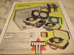 ANCIENNE  PUBLICITE ASSURANCE JOIE  ELECTROPHONE  DE TEPPAZ 1958 - Autres