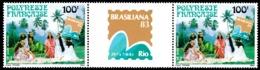 POLYNESIE 1983 - Yv. PA 176A = 176 En Paire **   Cote= 7,70 EUR - Tryptique Expo Phil. Brasiliana'83  ..Réf.POL23694 - Luftpost