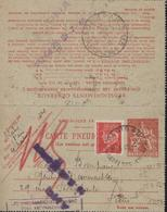 Entier Carte Lettre Pneumatique Chaplain 2F + YT 514 Petain 1F Rouge CAD Paris 49 R Petits Champs 22 5 42 - Cartes-lettres