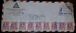 L) 1951 NICARAGUA, THE 500TH ANNIVERSARY OF THE BIRTH OF QUEEN ISABELLA, 10C, TRIANGLE, 5C, AIRMAIL, CIRCULATED COVER - Nicaragua