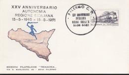 """ITALIA REP. 1971 -   Busta Con Annullo Commemorativo """"XXV ANNIVERSARIO AUTONOMIA REGIONE SICILIANA"""". - 1961-70: Marcophilia"""