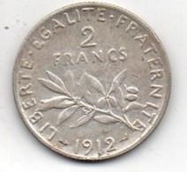 2 Fr Semeuse De 1912 Argent - Frankreich