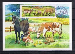 Atm, Brother, Salon De L'agriculture, CARTE MAXIMUM, DD 0.88€, Vache, Cheval, Cochon, Poule, Issue Du Pack De 4 Valeurs. - 2000-09