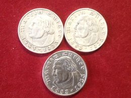 Münzen 3 Mal 2 Reichsmark Martin Luther Silber 1933 A,D,F Jaeger 352 - [ 4] 1933-1945 : Troisième Reich