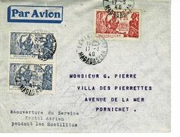 AVIATION, MADAGASCAR, 17 MARS 1940 REOUVERTURE SERVICE AEROPOSTAL AERIEN - Madagascar (1889-1960)