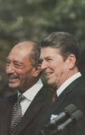 US President Reagan & Egypt President Sadat Meet 1981, C1980s Vintage Postcard - People