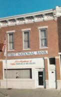 US President Reagan Birthplace Tampico Illinois In Bank Building, C1980s Vintage Postcard - People