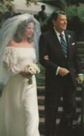US President Reagan With Daughter Pattie Davis At Her Wedding, C1980s Vintage Postcard - People