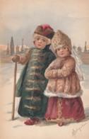 Artist Signed Lebedev Image Russian Children Traditional Fashion, C1900s/10s Vintage Postcard - Illustrators & Photographers