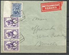 CADEAU - 1941 - COB N° 585 (x3) Et 589 Oblitérés (o) Sur LETTRE EXPRES 11/03/42 - Belgium