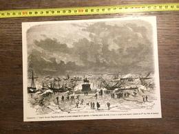 1866 GRAVURE CHERBOURG QUAI NAPOLEON PENDANT LE GRAND OURAGAN NAVIRES JETES A LA COTE - Old Paper