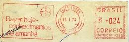 X614-Brazil-Chemistry-Bayer Ad Meter Stamp Cut-1974 - Chemistry