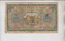 AB765. Morocco Banque D'Etat Du Maroc 100 Francs Banknote. - Maroc