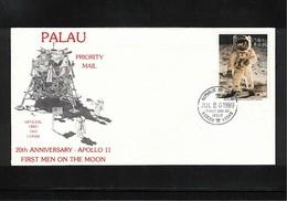 Palau 1989 Space / Raumfahrt Apollo 11 20th Anniversary Interesting FDC - Oceania