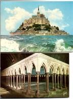 MONT SAINT MICHEL 2 Jolies CPSM (Le Cloître + Grande Marée) Ecrites TBE - Le Mont Saint Michel