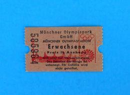 OLYMPIC PARK MUNICH Vintage Ticket * Olympic Games Munchen 1972. Olympia Olympiade Olympische Spiele Germany 72 Olympiad - Toegangskaarten