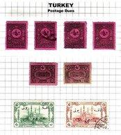TURKEY, Discount Sale, Postage Dues, Yv 32/37, 51/52, */o M/U, F/VF, Cat. € 27 - 1921-... République