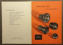 MOVIE CINEMA CAMERA Lens CATALOGUE Advertising ZEISS Jena - 10 Pages -  GERMANY German Lang. DDR - Lenses