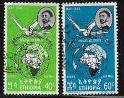 Ethiopia Scott #C75-6 Used Map, Globe, 1963 - Ethiopia