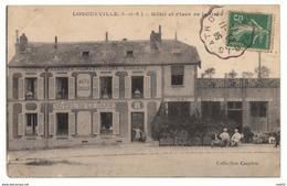 76 - LONGUEVILLE - Hôtel Et Place De La Gare - 1913 - RARE ,#76/002 - France
