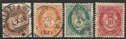 Norway   1886-9   Sc#37-40    2o/3o/ 5o/ 10o  Used    2016 Scott Value $28.50 - Used Stamps