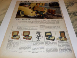 ANCIENNE PUBLICITE PARTOUT A SA PLACE  VALISE DE MELOVOX 1958 - Autres