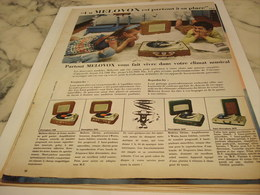 ANCIENNE PUBLICITE ELECTROPHONE VALISE DE MELOVOX 1958 - Autres