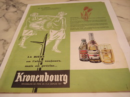 ANCIENNE PUBLICITE AU 19 SIECLES ON L AIME TOUJOUR  KRONENBOURG 1958 - Alcohols
