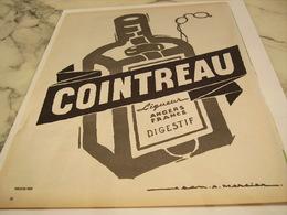 ANCIENNE PUBLICITE ANGERS FRANCE LIQUEUR COINTREAU 1958 - Alcohols