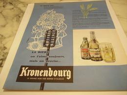 ANCIENNE PUBLICITE AU MOYEN AGE ON L AIME TOUJOUR  KRONENBOURG 1958 - Alcools