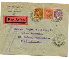 DEUX SEVRES Cachet Temporaire NIORT EXPOSITION Sur N°225+N°233+N°264 Sur Env. Par Avion Du 06/05/1930 - 1921-1960: Période Moderne