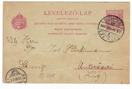 Entier Postal Budapest 1901 Hongrie Magyarország Hungary Suisse Unterägeri Schweiz - Paketmarken