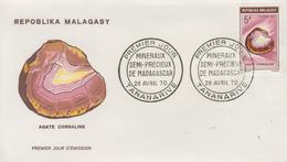 Enveloppe  FDC  1er  Jour    MADAGASCAR    Minéraux  :  Agate  Cornaline   1970 - Minerals