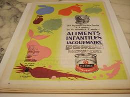 ANCIENNE PUBLICITE ALIMENTS INFANTILES JACQUEMAIRE 1958 - Afiches