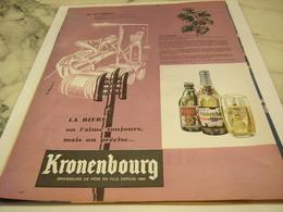 ANCIENNE PUBLICITE AU 16 SIECLES ON L AIME TOUJOUR  KRONENBOURG 1958 - Alcools