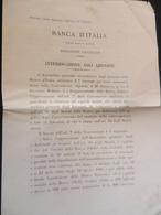 2.2) BANCA D'ITALIA INTERROGAZIONE AGLI AZIONISTI 1895 - Documenti Storici