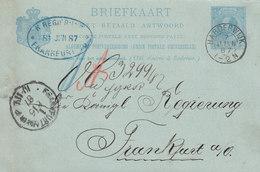 Netherlands Postal Stationery Ganzsache Résponse Payée HARDERWIJK 1887 Königl. Regierung FRANKFURT (Arr. Cds) - Postal Stationery