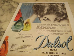 ANCIENNE PUBLICITE SHAMPOOING DULSOL  1958 - Perfume & Beauty